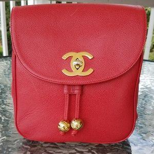 CHANEL Caviar Skin Backpack Coral? Vintage?